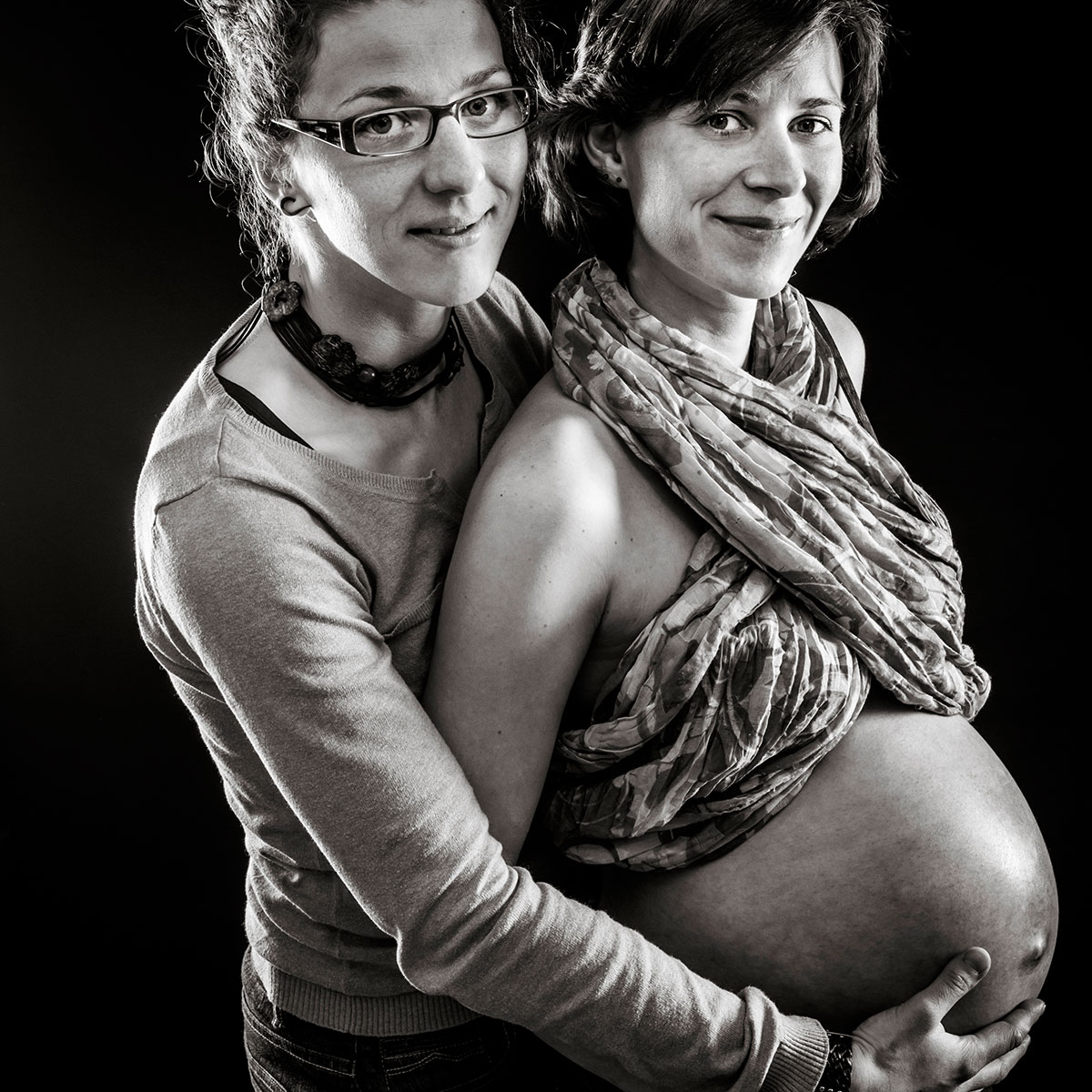 photo studio portrait femme enceinte couple alsace