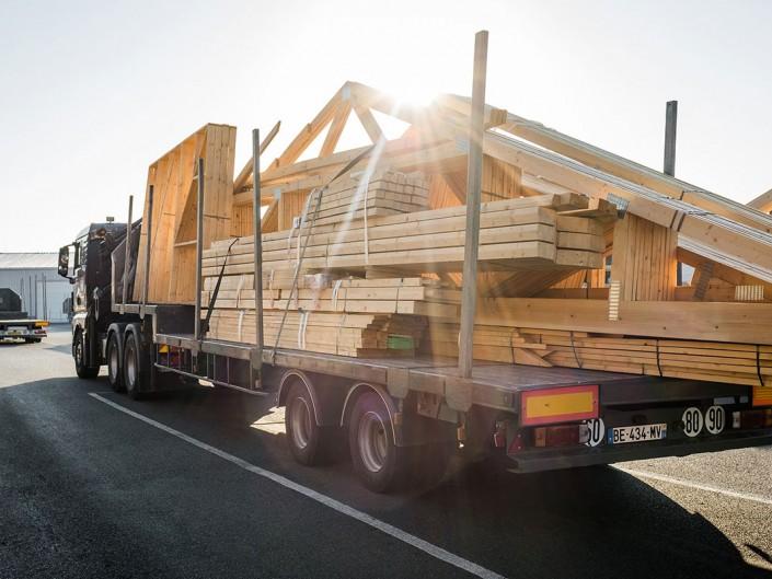 photo camion reportage industrie martin charpentes bois toul